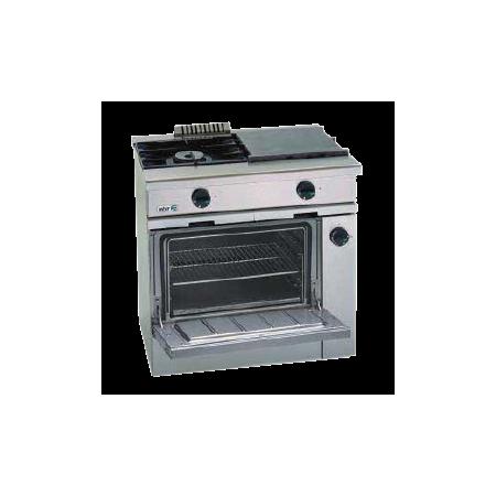 Cocina a gas + horno con grill + placa de asado