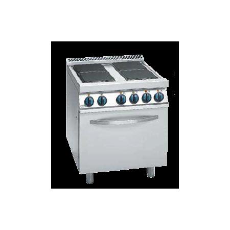 Cocina eléctrica de 4 placas cuadradas + horno